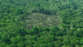 Aerial view of deforestation in the Western Amazon region of Brazil on September 15, 2017.