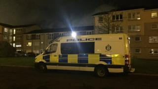 Police van outside property in Whitehill Court