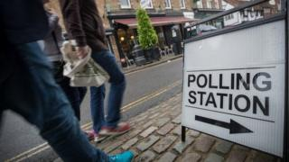 Voters outside polling station in Berkshire