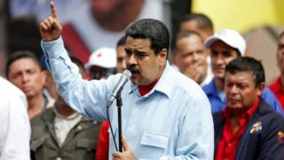 President Nicolas Maduro speaks during a rally with pro-government members of the public transport sector in Caracas, Venezuela May 31, 2016.