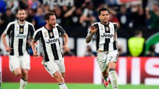 Wachezaji wa klabu ya Itali Juventus wakisheherekea ushindi wao dhidi ya Monaco