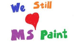 Sosyal medyada paylaşılan ve üzerinde 'MS Paint'i hala seviyoruz' yazan bir grafik.