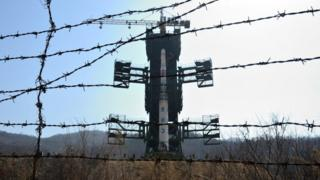 The North Korean Unha-3 rocket at the Sohae Satellite Launching Station, also known as Tongchang-ri on 8 April 2012