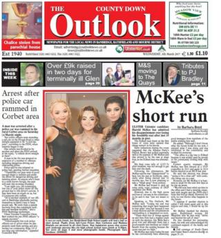 The front page of the County Down Outlook