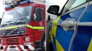 Fire engine and police car
