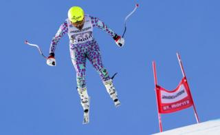 """Sabrina Simader of Kenya in action during the women""""s Slalom of the Alpine Combined race of the FIS Alpine Skiing World Cup in St. Moritz, Switzerland, 08 December 2017."""