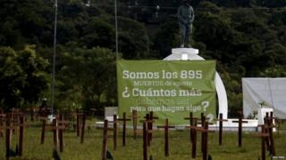 Crosses are left as a protest against the high homicide rate in the country in San Salvador, El Salvador on September 1, 2015.