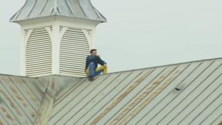 Stuart Horner on roof of HMP Manchester
