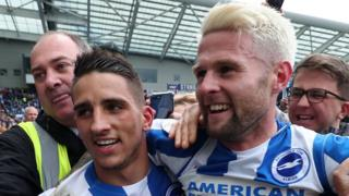 Brighton's Anthony Knockaert and Oliver Norwood