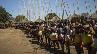 maidens at the reed dance for Zulu King, Goodwill Zwelithin