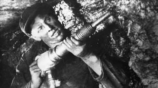 Alexei Stakhanov with a mining drill