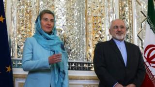 European Union High Representative for Foreign Affairs, Federica Mogherini (left) with Iranian Foreign Minister Mohammad Javad Zarif
