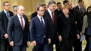 Путін, Оланд, Порошенко, Меркель