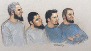 Naweed Ali, Khobaib Hussain, Mohibur Rahman and Tahir Aziz - court sketch