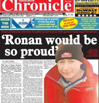 Front page of Ballycastle Chronicle