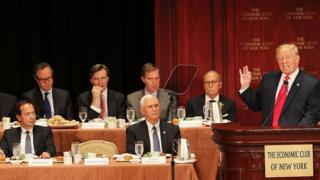 Republican presidential candidate Donald Trump speaks at a lunch hosted by the Economic Club of New York on September 15, 2016 in New York City.