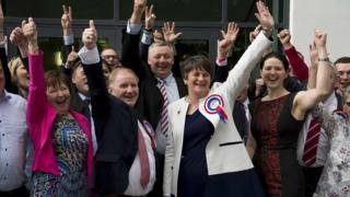 The DUP's Arlene Foster and Lord Morrow celebrate after their election in Fermanagh and South Tyrone