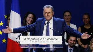 French Minister of Territorial Cohesion Richard Ferrand delivers a speech during a campaign meeting for the 90 La Republique en Marche (REM) party candidates in the Ile-de-France region for the upcoming legislative elections, on May 23, 2017, in Aubervilliers, near Paris.
