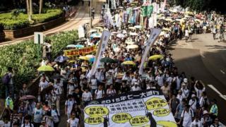 """香港民陣每年都會舉行""""七一遊行"""",爭取各種政治權益。(資料圖片)"""