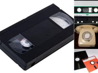 Pictures of videotape, cassette and computer floppy disks