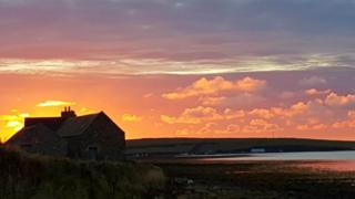 Sunset looking towards St Margaret's Hope