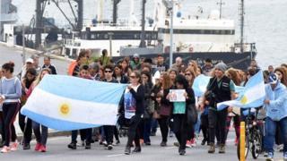 Relatives of the 44 crew members of the missing ARA San Juan submarine December 3, 2017