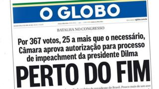 O Globo newspaper front page