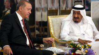 Turkish President Recep Tayyip Erdogan with Saudi Arabia's King Salman bin Abdulaziz Al Saud during official visit in Jeddah. 23 July 2017