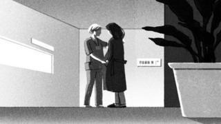 Ilustración de una paciente y una enfermera