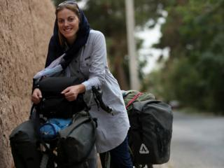 Rebecca Lowe with her bike, Maud
