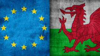 European Union and Welsh flags