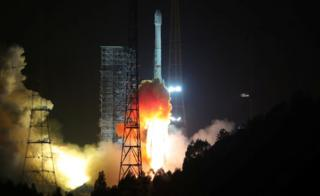 "A Long March 3B rocket carrying Alcomsat-1, Algeria""s first telecommunications satellite, takes off at the Xichang Satellite Launch Center in Sichuan province, China December 11, 2017."
