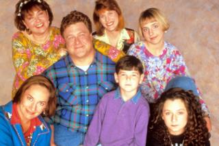 Roseanne cast - Laurie Metcalf, Roseanne Barr, John Goodman, Natalie West, Michael Fishman, Lecy Goranson, Sara Gilbert