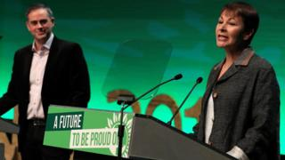 Jonathan Bartley and Caroline Lucas leaders of Green Party delivering speech