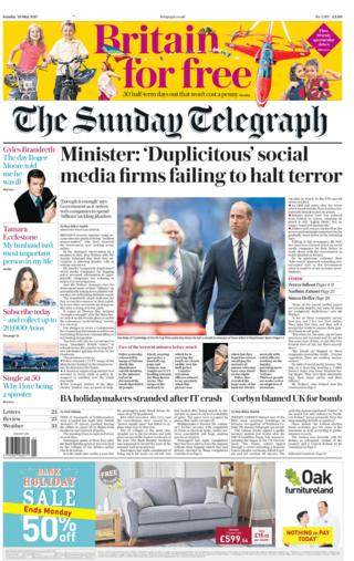 Sunday Telegraph front page - 28/05/17