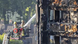 London firefighters using high ladders