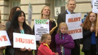 Protest at Swansea Guildhall