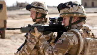 Two female British soldiers on patrol in Lashkar Gah, Afghanistan