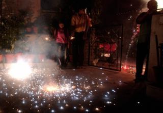 Indians set off firecrackers