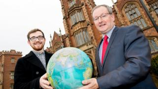 Student Union President Seán Fearon is pictured with Queen's University President and Vice-Chancellor, Professor Patrick Johnston