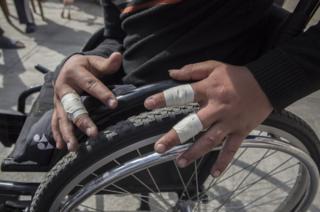 Ramesh in a wheelchair race