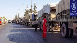 Convoy of 31 trucks preparing to set off to deliver aid to the western rural side of Aleppo, Syria, 19 September 2016