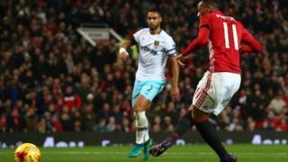 Martial Scoring against West Ham