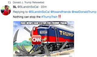 Trump tweets cartoon of train hitting CNN reporter