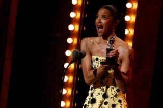 Renee Elise Goldsberry wins the award for Best Performance by an Actress in a Featured Role