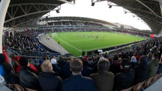 A view from the stands in Helsinki's Sonera Stadium during a match