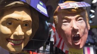vibonzo vya Hillary Clinton na Donald Trump