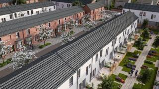 An illustrative image of how the refurbished properties with communal areas at the rear could look