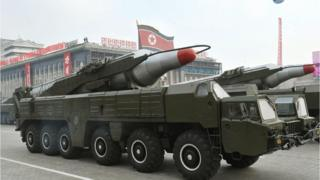 """A file photo dated 4 October 2010 and made available by the North Korean Central News Agency (KCNA) shows a """"Musudan"""" missile displayed during a military parade marking the 65th anniversary of the foundation of the Workers' Party of Korea, in Pyongyang, North Korea"""