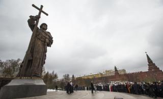 Inauguración de la estatua de San Vladimir en Moscú.